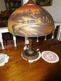 Period reverse painted antique lamp