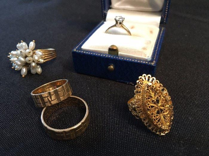 Solitaire Diamond Engagement Ring, 14K Wedding Bands, Hand Spun Gold Ring