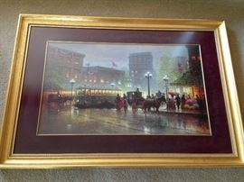 Large framed Gerald Harvey print. One of approximately 50 framed pictures, paintings and prints.