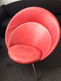 Ultra Danish modern red leather chair. Nanna Ditzel, Fredericia Furniture, Model 2650, 2002