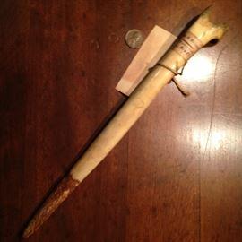 Papua New Guinea bone dagger made from femur of the cassowary
