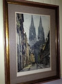 Luigi Kasimir Cologne Cathedral framed printed. 3 By Kasimir and one by a student of Kasimir. All very nicely framed and ready to hang.
