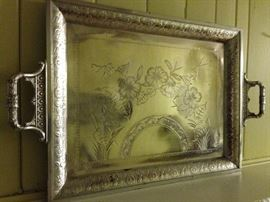 Aesthetic Movement tea service tray. Showing detail. LOVELY!
