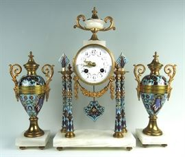 French Champleve 3 piece Clock Garniture