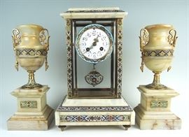 French 3 piece Champleve & Onyx Clock Garniture