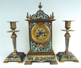 French Champleve & Bronze Clock Set