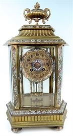 French Champleve & Bronze Clock