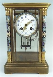 French Champleve Clock