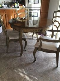 """Old World Dining Table with 4 chairs comes with custom glass top & 18"""" leave. Country French style"""