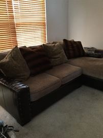Old Hickory Leather & Fabric Sofa with Chaise