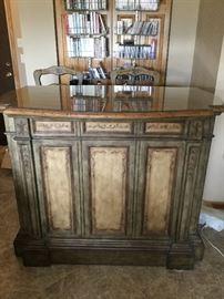 Old World Design Bar with storage & 2 Matching Bar Stools