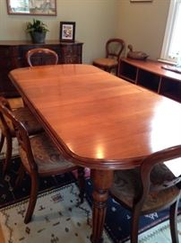 antique 19th C dining table with two leaves