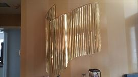 Kinetic Wave Brass Metal Sculpture by Curtis Jere c. 1983