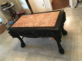 EXTRAORDINARY ANTIQUE HIGHLY CARVED MARBLE TOP CHINESE CENTER HALL TABLE.