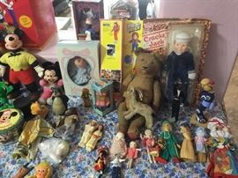 Mickey Mouse, Stief Bear and animals, Dolls from all over the wold and all eras.