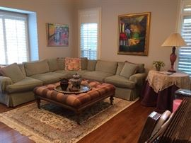 (Art is not for sale )  sectional couch , lamps, area rugs,  round table
