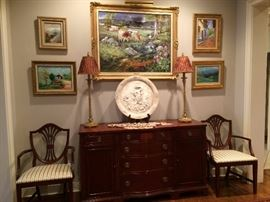 (art is not for sale)   buffet , lamps, dining room chairs