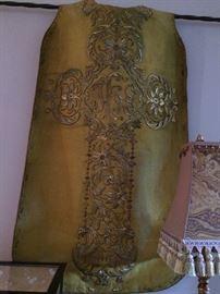 antique gold thread Catholic vestment