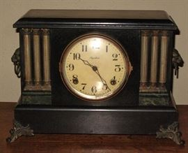 Ingraham Antique Black Mantle Time & Strike Clock