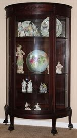 2nd View- Antique Mahogany Bow Front China Cabinet with 4 Adjustable Shelves raised on Claw Feet with Original Casters