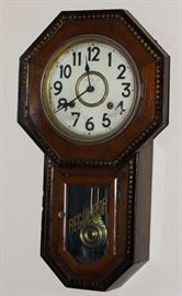 "Antique ""Headmaster"" School House Regulator Clock  Key Wound Time & Strike"