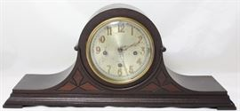 "The Herschede Hall Clock Co. Cincinnati, Ohio  Humpback Mantle Clock Panama Pacific International Exposition 1913 Grand Prize Winner Plaque  Model 20 Westminster Chime Clock w/Key (21"" L x 9""H x 5.5""D)"