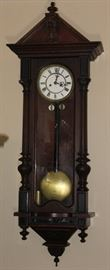 "Gustavo Becker 1819-1895)  Antique Vienna Regulator Wall Clock (1860-1870's)   (0verall 49"" x 18"")"