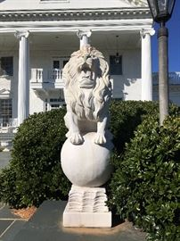 """Pair of 56"""" tall Italian marble lions"""
