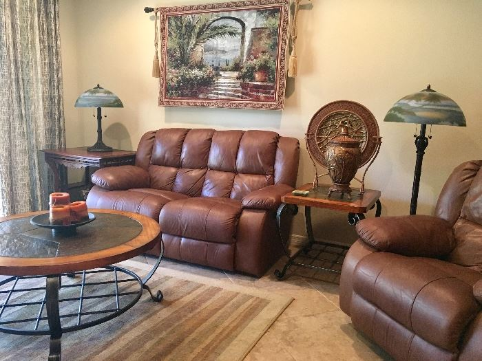 Leather Reclining Love Seat and Rocker