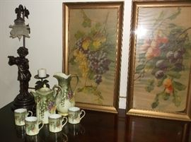Bronze figure lamp, handpainted chocolate set w/pitcher, and vintage fruit prints