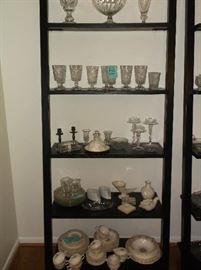 Ladder bookshelf w/vintage china set and glassware