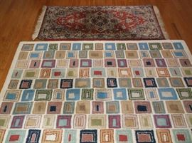 Red and blue Heriz rug, and Block pattern wool rug