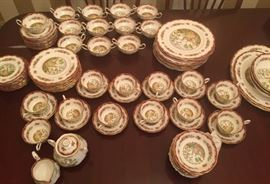 102 piece set OXFORD ROYAL ALBERT CHELSEA BIRD Pattern Bone China 12 place settings.
