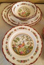 "102 piece set OXFORD ROYAL ALBERT ""CHELSEA BIRD"" Pattern Bone China 12 place settings."