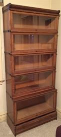 1920 vintage tiger oak barrister bookcase, 5 stack with base drawer