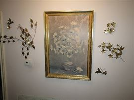 "Large Mid-Century Framed Print ""Daisies and Damask"" by Stemkowski"