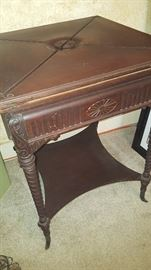 Antique Barley Twist envelope card table Reminiscent of a similar table I saw on Downton Abbey