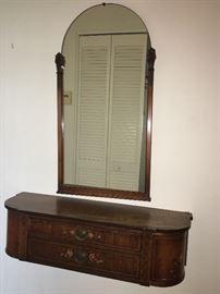 Antique Mirror and Hutch