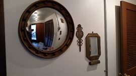 Hall way  Round Convex Mirror, Brass torch style plaque, Brass Mirror w/brush