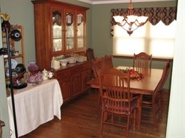 Amish mission dining table, chairs, china cabinet