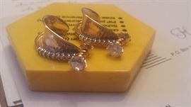 item 3b.Pair 14k yellow gold diamond earrings, two diamonds weighing 1.07 cts TW  with item  3c one Pair of 14kt diamond jackets with 12 diamonds..