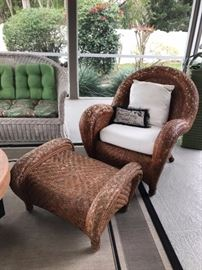 Woven patio chair and ottoman
