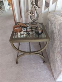 metal/glass top table - one of a pair
