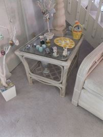 rattan glass top table