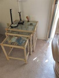 rattan/glass nesting tables