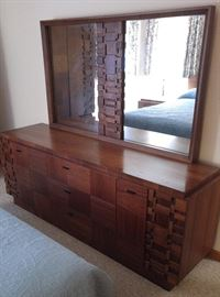 Bedroom dresser mirror  - Made in Canada solid wood. Bedroom set includes 6 pieces: King headboard, 2-nightstand, Armoire, dresser/mirror asking $1,200 for the set!