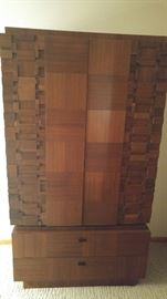 Bedroom Armoire -  Made in Canada solid wood. Bedroom set includes 6 pieces: King headboard, 2-nightstand, Armoire, dresser/mirror asking $1,200 for the set!