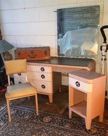PINK! Early 1940's Bel Geddes Futurama Desk/Vanity and Nightstand