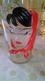 CLOSE-UP.....LADY SCARF /BABOOSKA DRINKING GLASSES