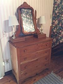 ANTIQUE PINE CHEST WITH MIRROR